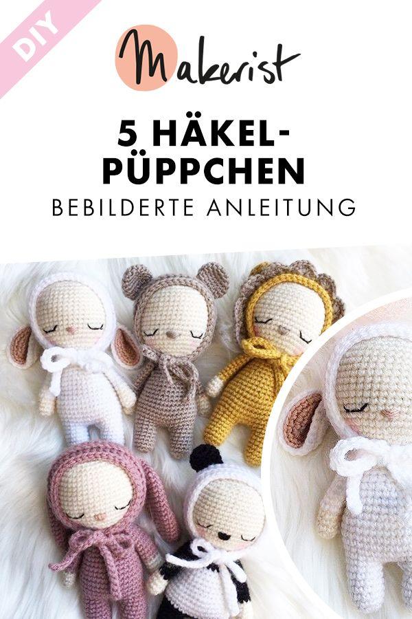 Kleine süße Häkelpüppchen häkeln. Bebilderte Anleitung für alle fünf Varianten via Makerist.de #makerist #häkeln #häkelanleitung  #häkelnmitmakerist #crocheting #crochetpattern #crochet #diy #diyproject #häkelpuppe #amigurumi #babyteddybear