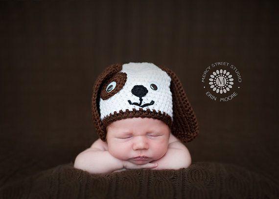 Puppy Dog Hat  Baby Beanie  Baby Hat  Baby Boy by inamooddesigns, $22.00