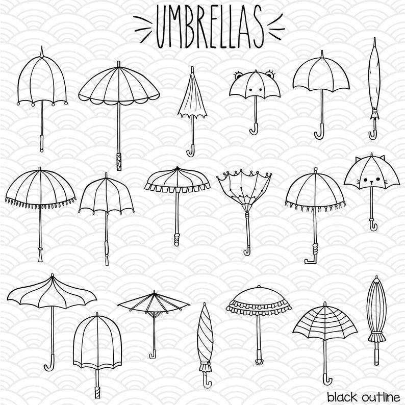 19 Umbrella Clip Art Hand Drawn Vintage Beach Parasol