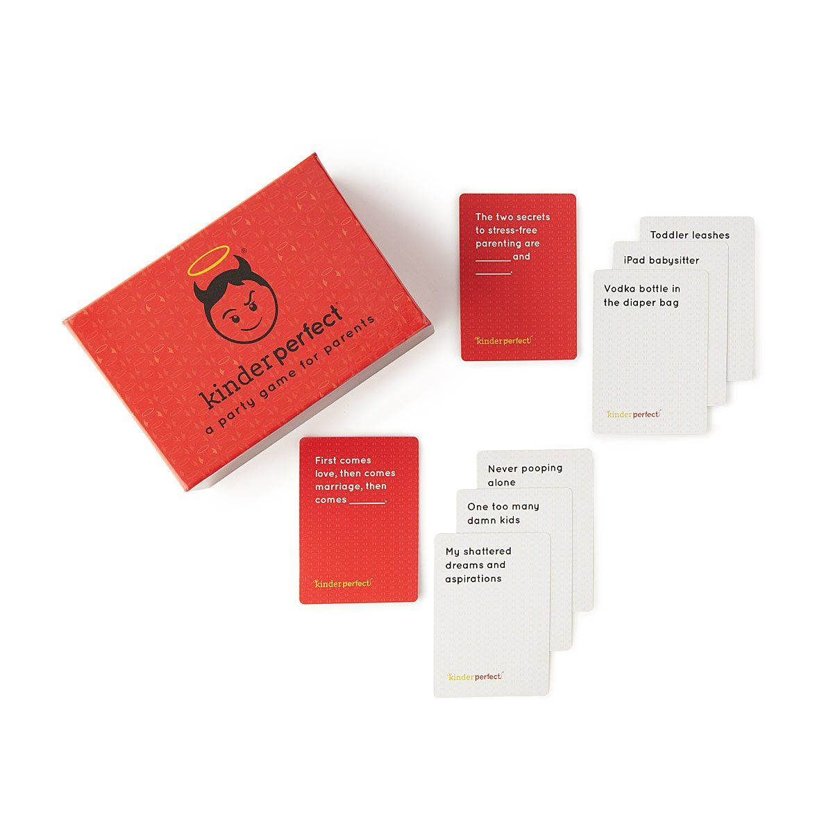 This adults-only card game lets mom and dad fill in the blanks with the  best answers to awkward parenting situations. The most accurate (or  hilarious) wins