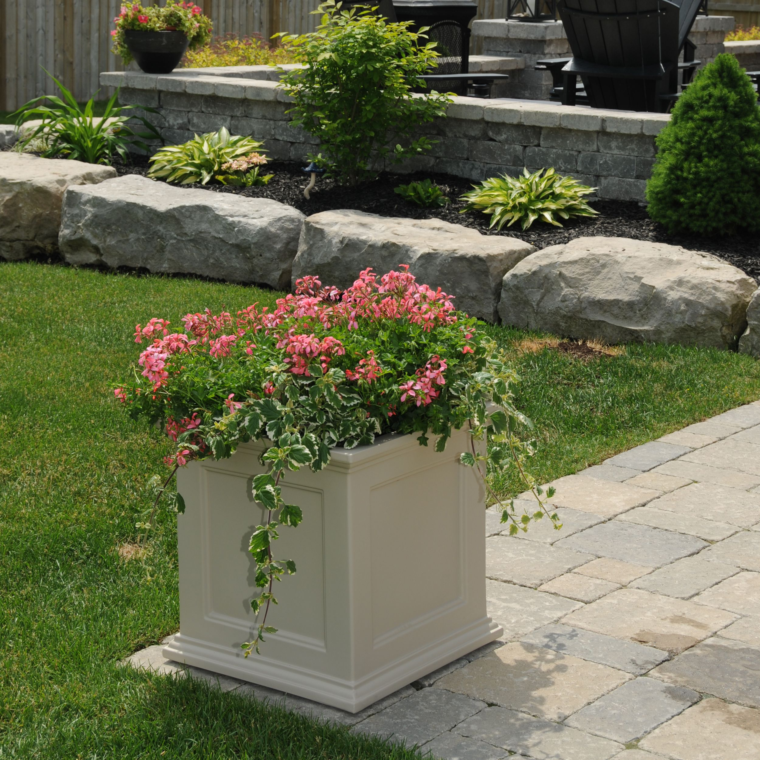 Mayne Fairfield 20 x 20 patio planter in clay Made in the USA