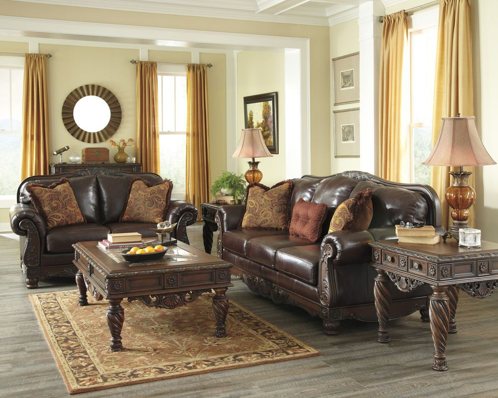 NORTH SHORE LEATHER BROWN TRADITIONAL SOFA LOVESEAT SET
