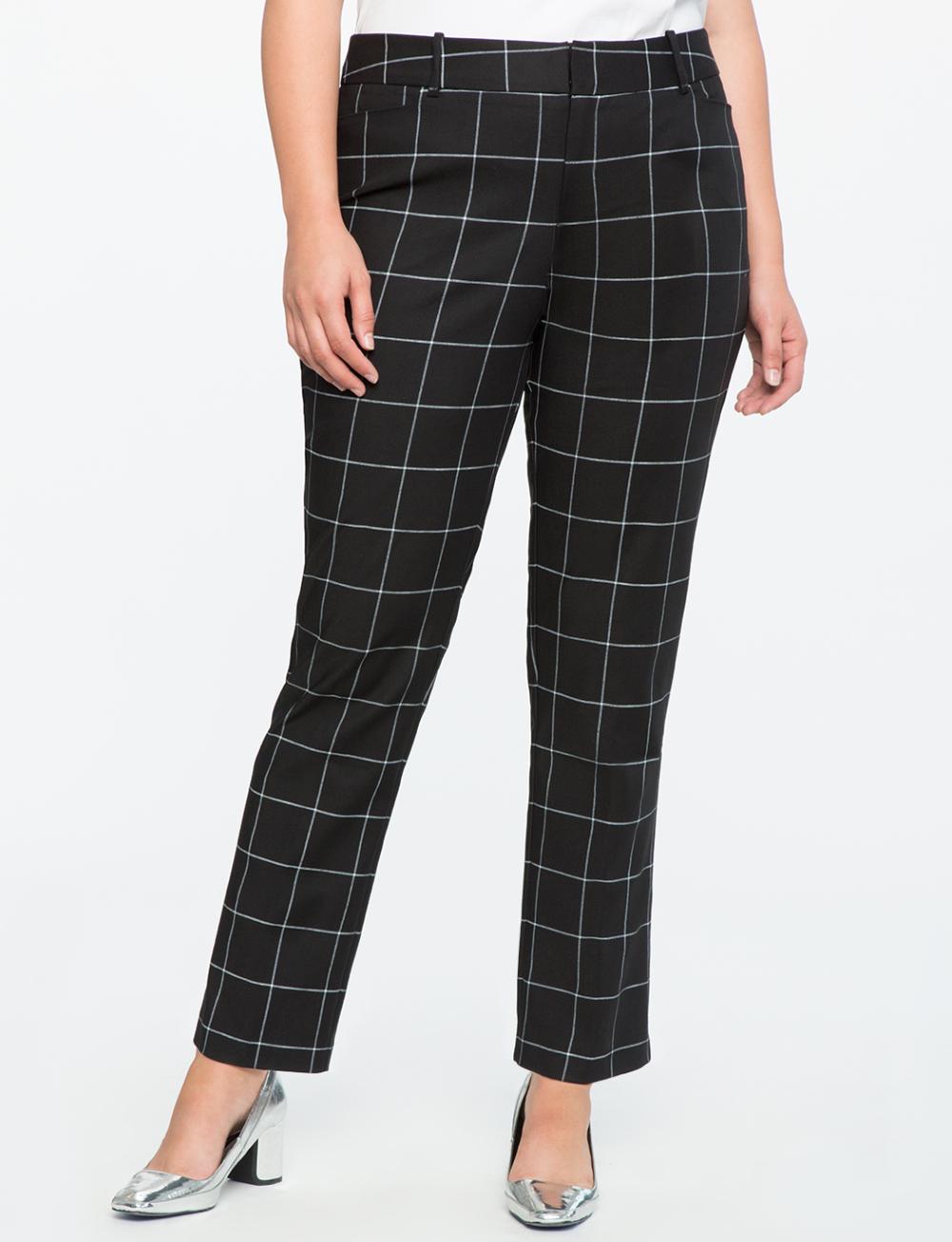Photo of Windowpane Print Kady Pant | Women's Plus Size Pants | ELOQUII