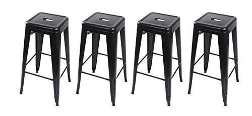 Prime Gia Black 30 Metal Stoolset Of 4 Bar Height Square Backless Inzonedesignstudio Interior Chair Design Inzonedesignstudiocom