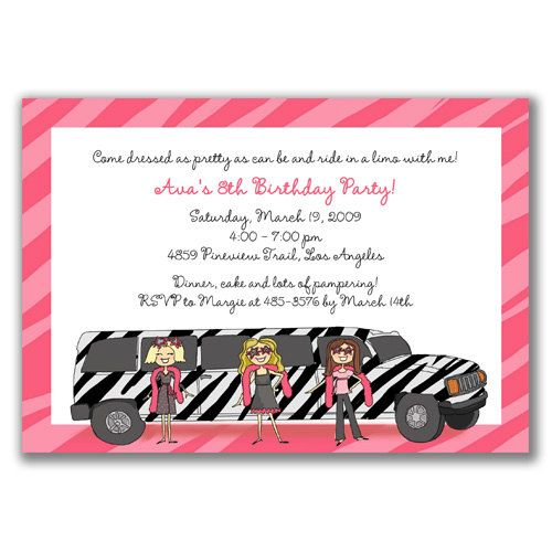 Zebra Limo Girls Invitations For Kids Birthday Party By