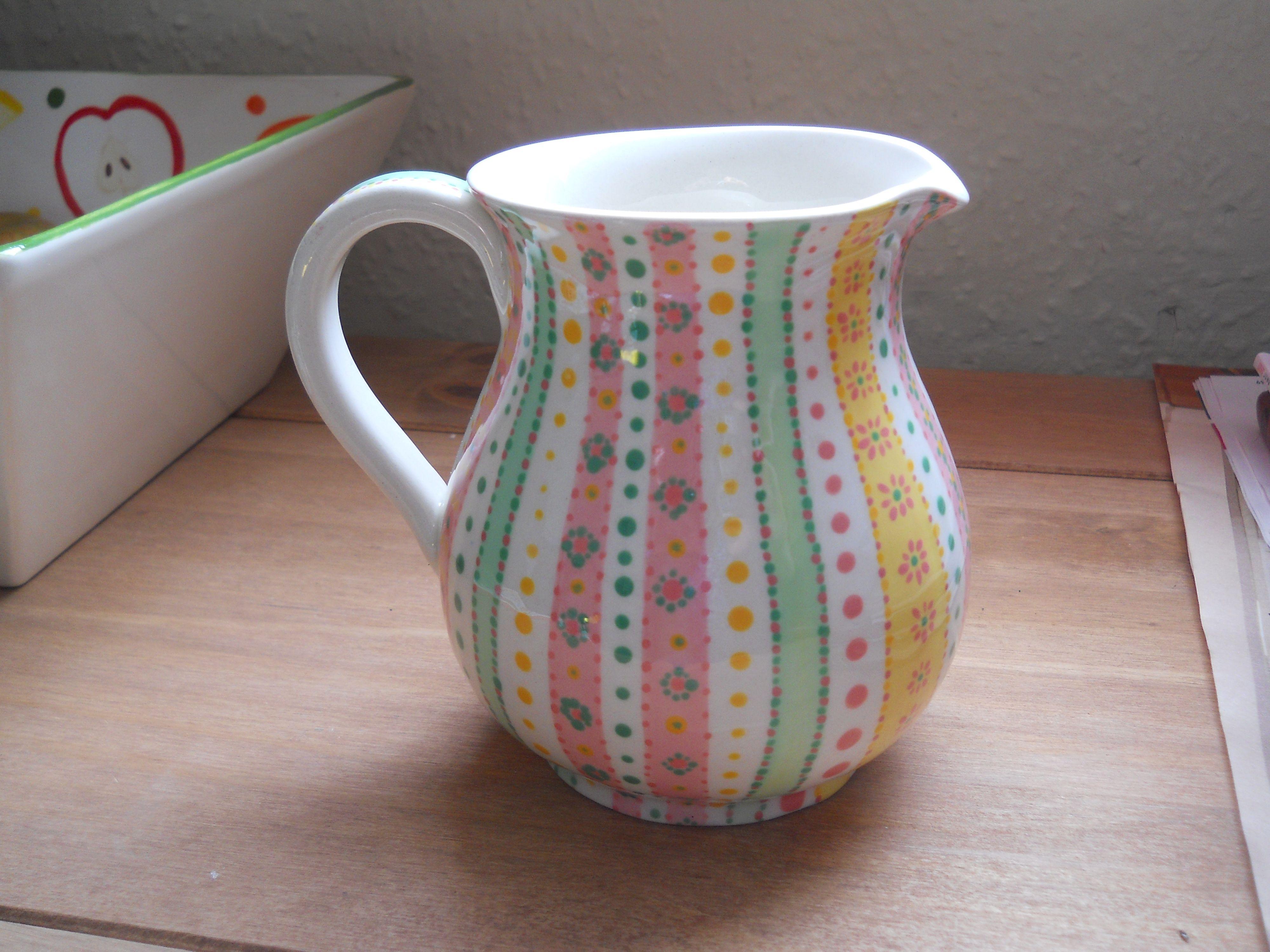 Pretty Jug Pottery Painting Ceramic Painting Hand Painted Ceramics