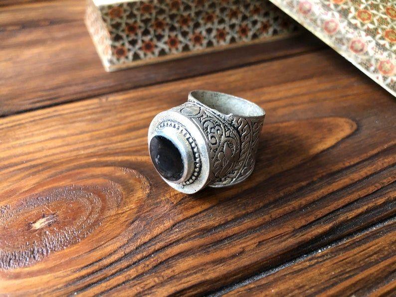 Kuchi Pashtun Jewelry Vintage Afghan carnelian ring-9 size bohemian massive ring Navajo Tribal Jewellery Berber Tuareg Ethnic