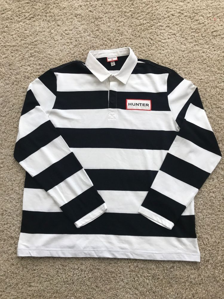 Hunter For Target Striped Polo Rugby Shirt Long Sleeve Black White