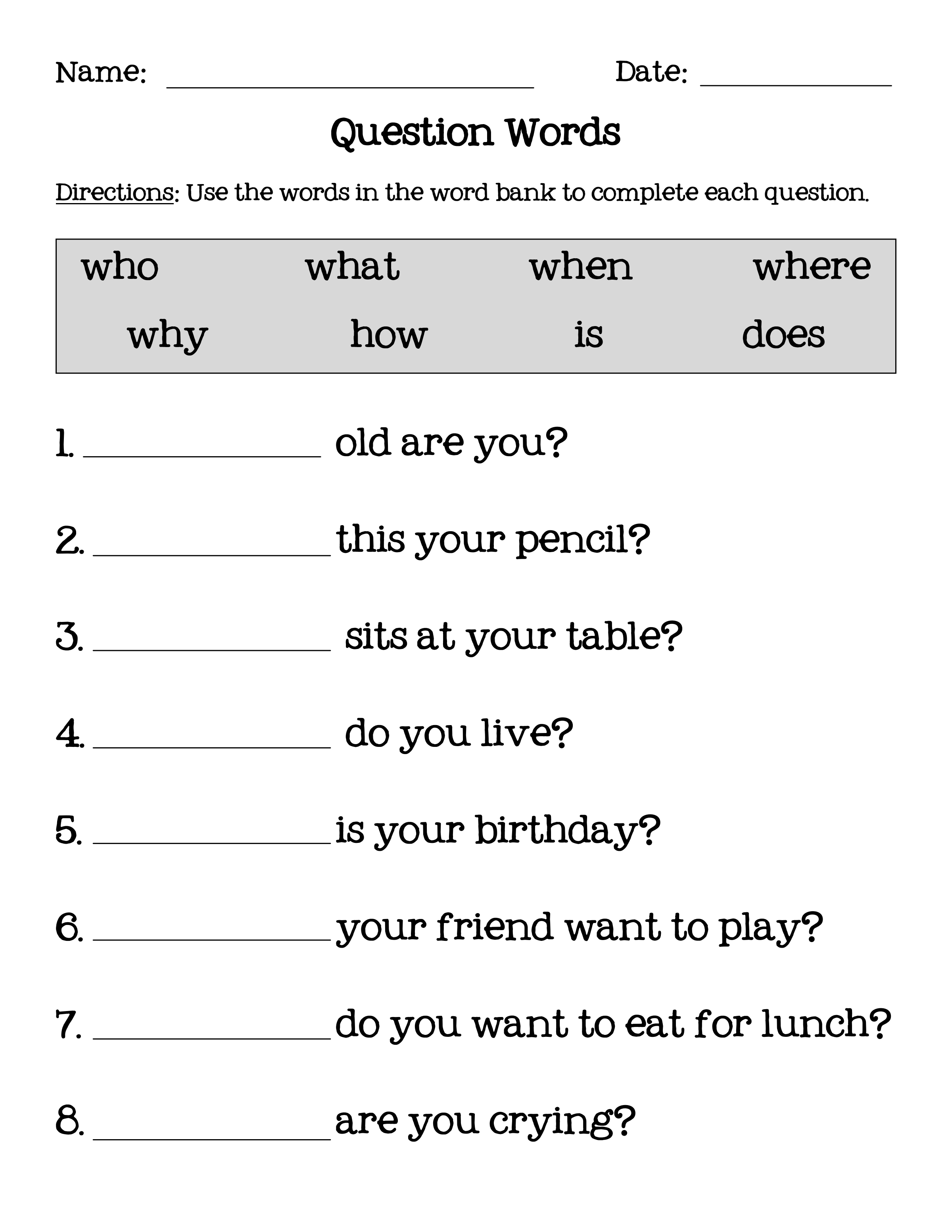 דף 1 מתוך 1 This or that questions, Wh questions