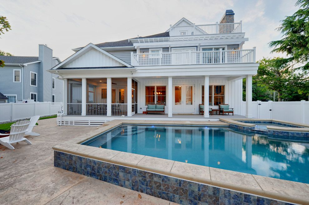 Semi Inground Pool Pool Traditional With Balcony Exterior Porch Spa Terrace Pool Houses Semi Above Ground Pool Best Above Ground Pool
