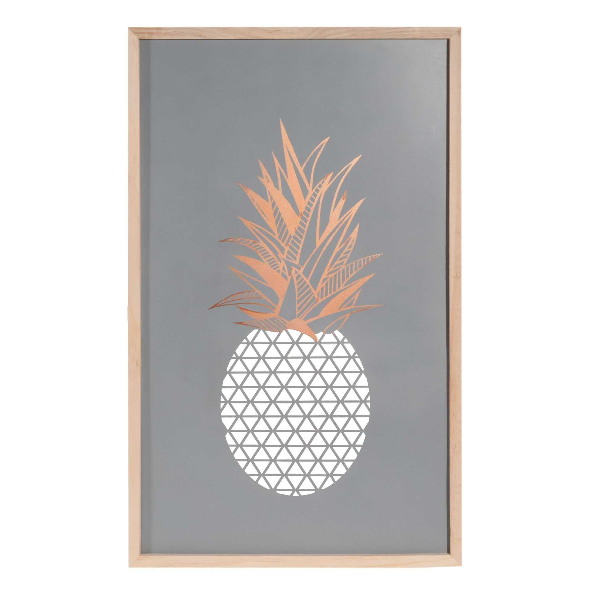 Tableau en m tal 40 x 65 cm modern ananas wishlist no l for Tableau salon scandinave