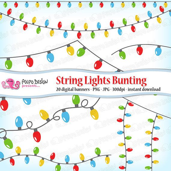 String Lights bunting banners clipart. Digital clip di PolpoDesign
