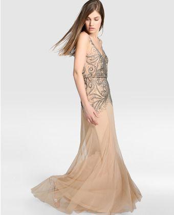 7b28cad6e Vestido de fiesta de mujer Tintoretto en color nude con strass