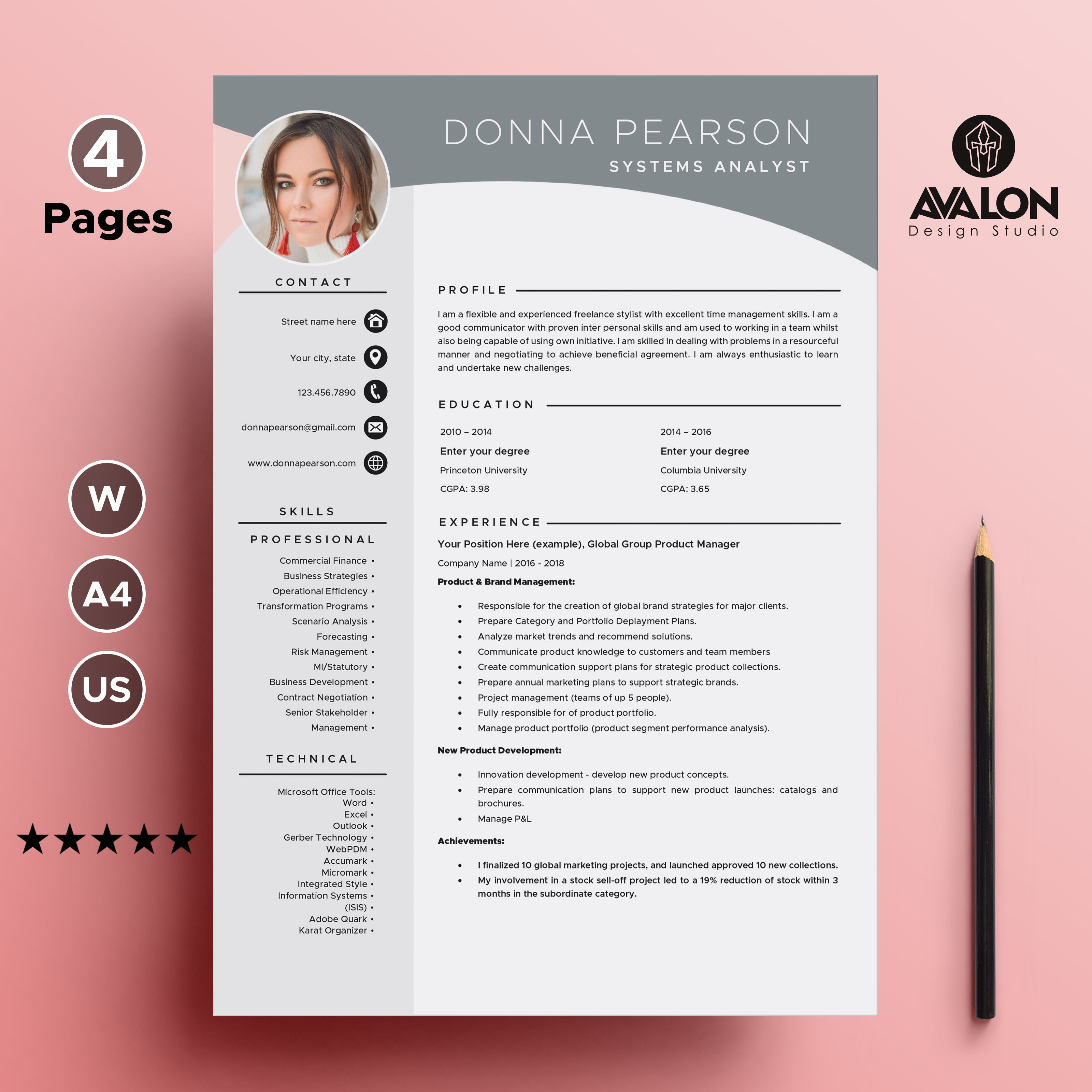 Professional Resume Template For Microsoft Word 4 Pages