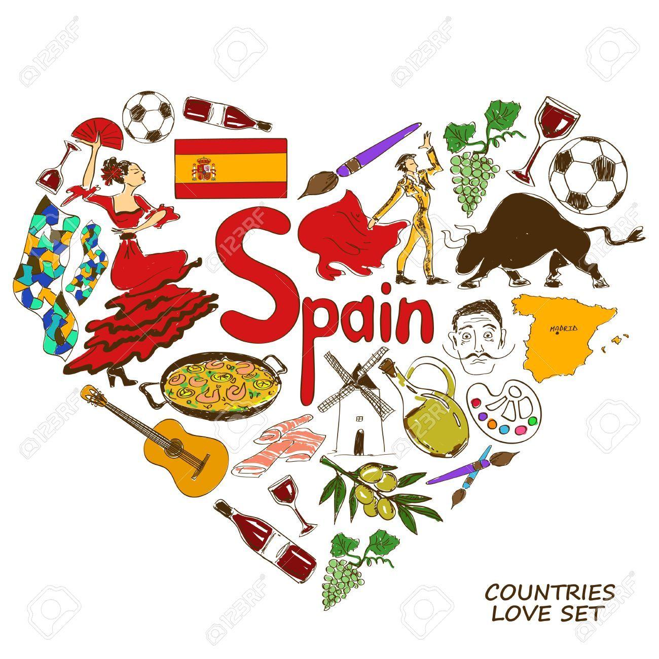 Colorful Collection Croquis De Symboles Espagnols Coeur Concept De Forme Fond Voyage Symbole Espagnol Croquis Espagnol