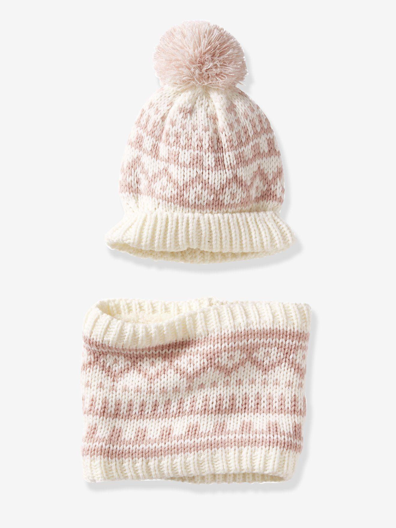 a0132a4f347 Ensemble bonnet et snood façon jacquard bébé ivoire rose - Pour affronter  les premiers frimas