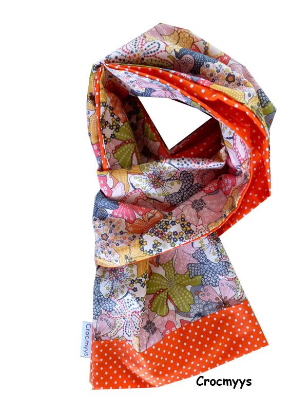 Foulard liberty mauvey orange et pois : Echarpe, foulard, cravate par crocmyys