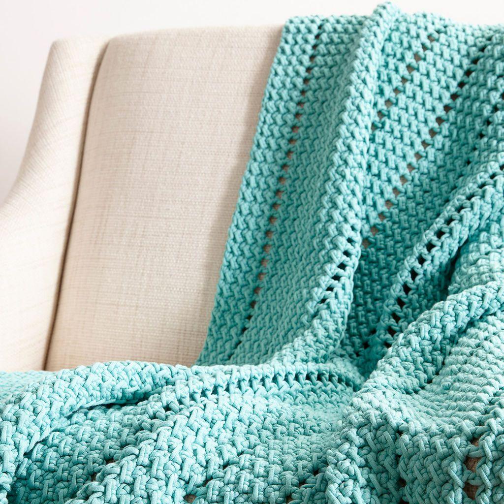 Bernat® Maker Home Dec™ Eyelets and Textures Crochet Blanket