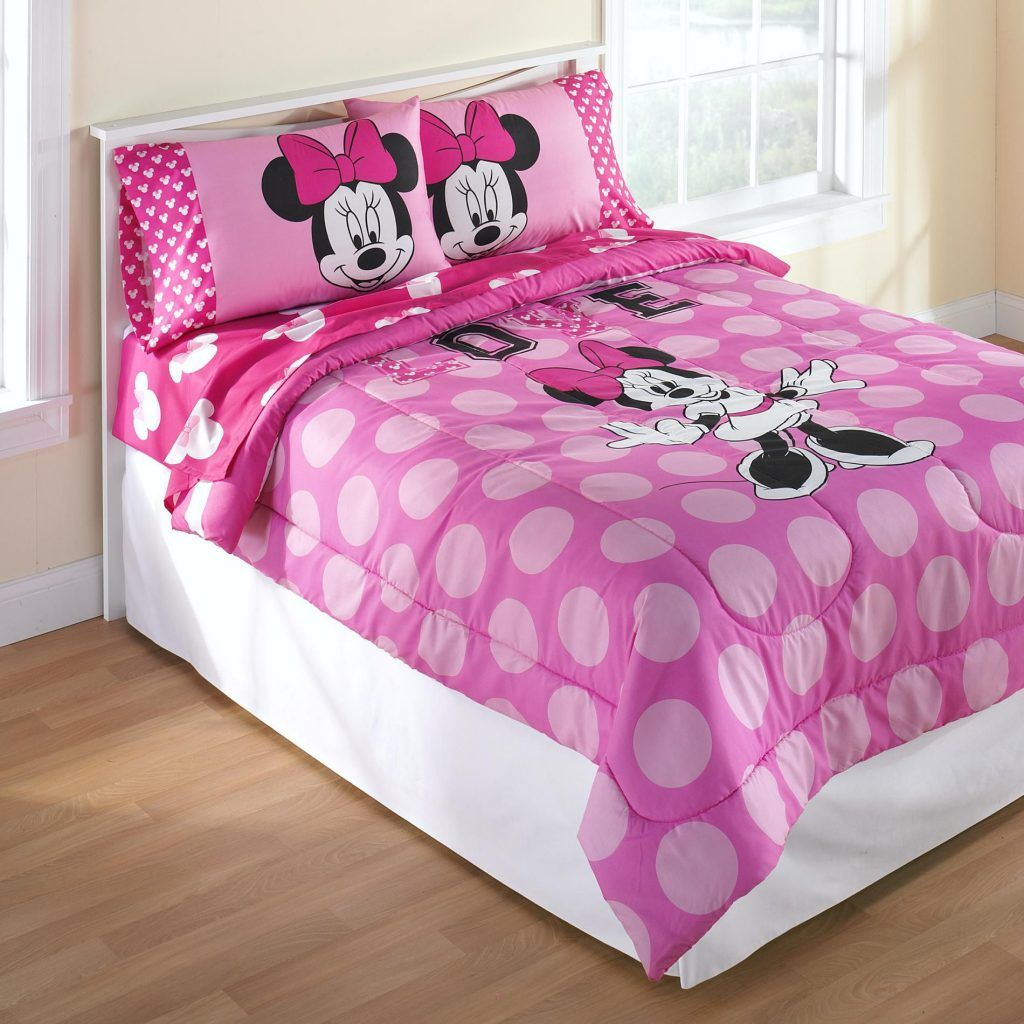Interior Bedroom Minnie Mouse Pink Comforter And Pillow Cases On