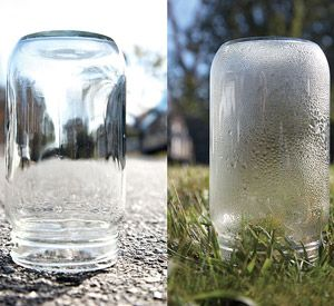 Easy experiment conducted anywhere there is a patch of grass to demonstrate that water vapor is given off during photosynthesis.  Extension...place a glowing splint in the jar an hour later & when it re-lights demonstrates oxygen is also produced.