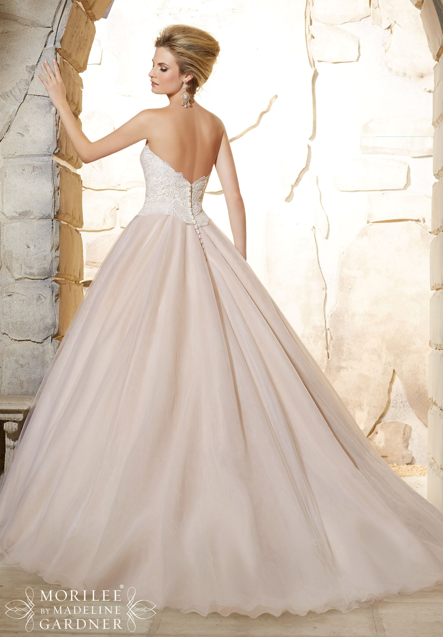 Unique Come in to see this beautiful Mori Lee gown Wedding Dress Elegant Venice Lace Bodice onto the Classic Tulle Ball Gown