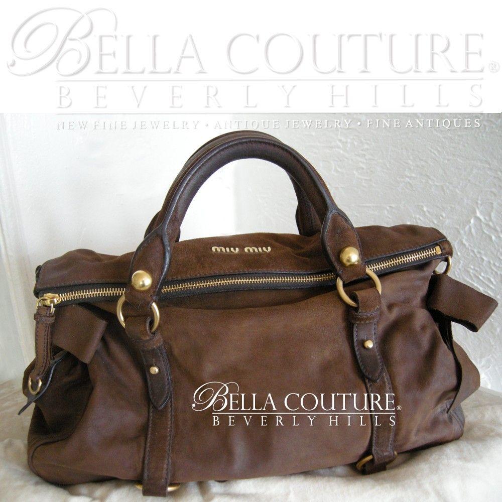 MIU MIU BAULETTO VITELLO BROWN SUEDE LEATHER PRADA Bow Satchel Bag Handbag  Purse