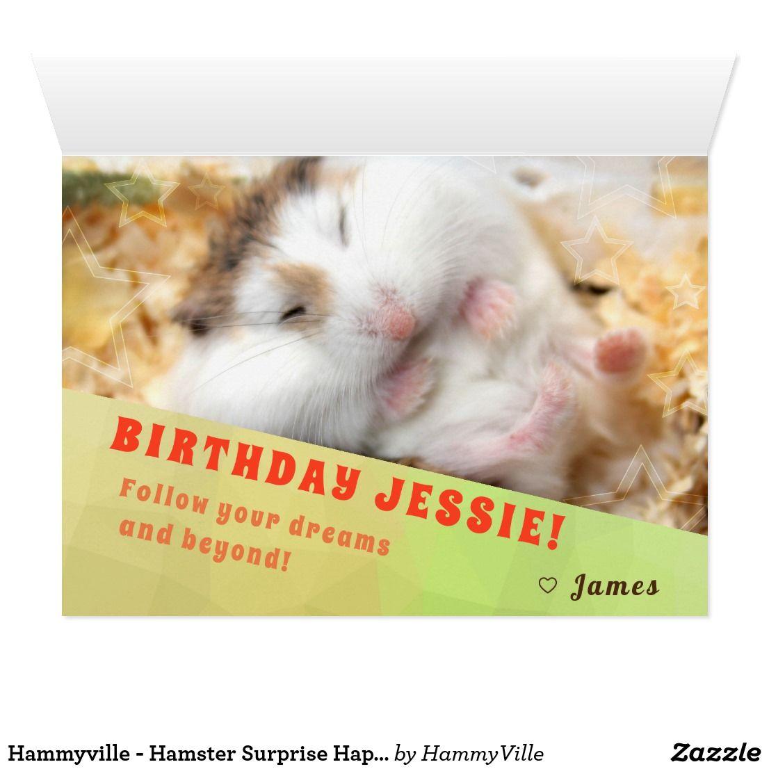 Hammyville Hamster Surprise Happy Birthday Card Zazzle Com Happy Birthday Cards Happy Birthday Cards Diy Hamster