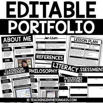 EDITABLE Teacher Portfolio (Interview Portfolio with Teacher