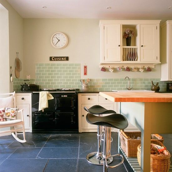 Kitchen With Green Tiles Green Kitchen Colour Ideas Colour - Country kitchen tiles