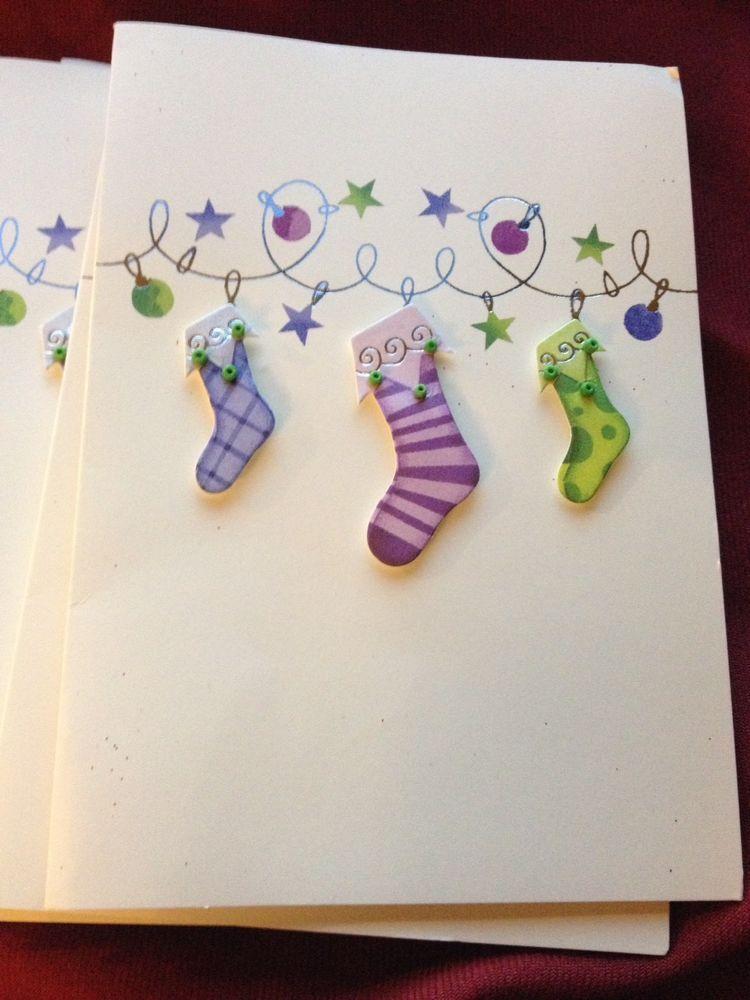 NEW! PAPER MAGIC HANDMADE Christmas Cards Stockings w/ Garland 8 Ct ...