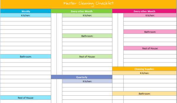 Free Printable Organization Templates  Master Cleaning Checklist