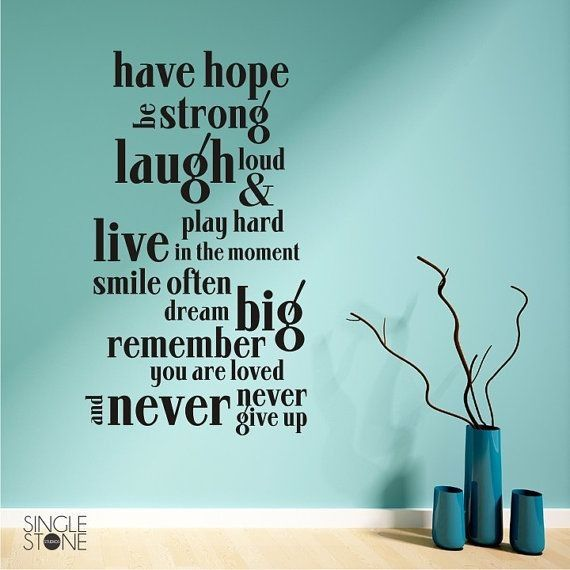 Have Hope Wall Decal Quote And Flower Vase Wall Decor Wall Quotes