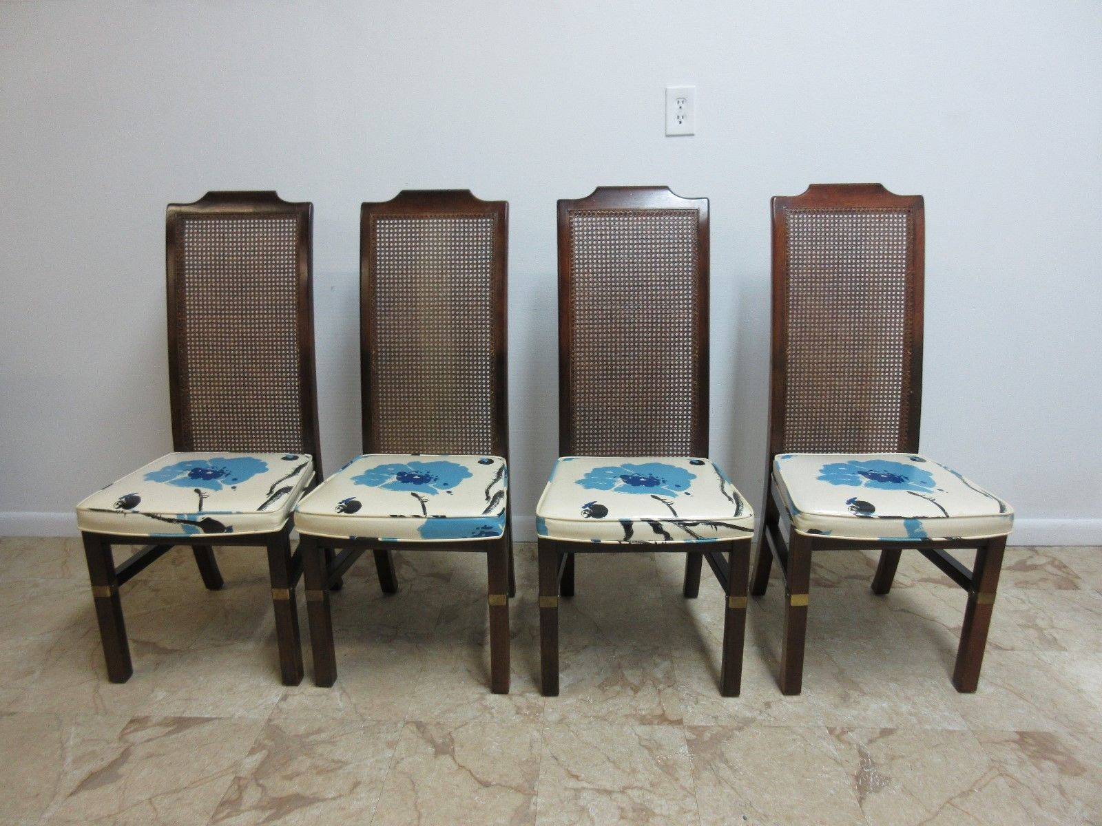4 Mid Century Vintage Campaign Henredon Furniture Dining Room Side Custom Henredon Dining Room Chairs Inspiration