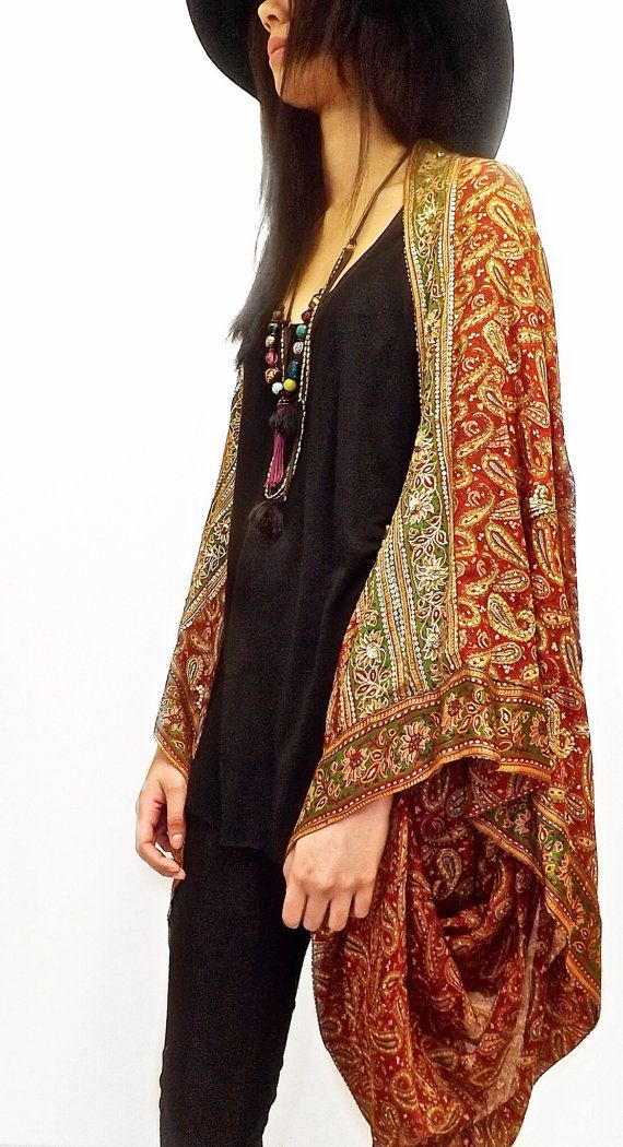 83435d5d612 Silk beaded Kimono jacket   Shrug  could be easy to put together from 2  large scarves