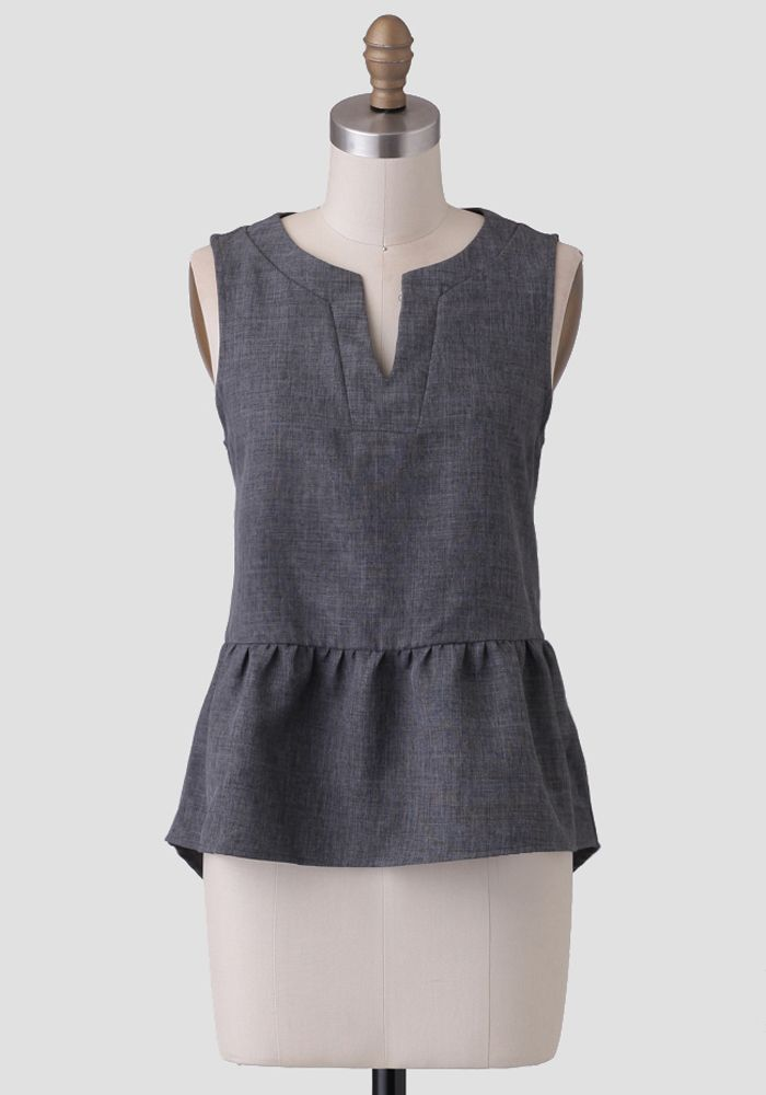 This Lovely Charcoal Gray Blouse Is Designed In A Peplum Silhouette