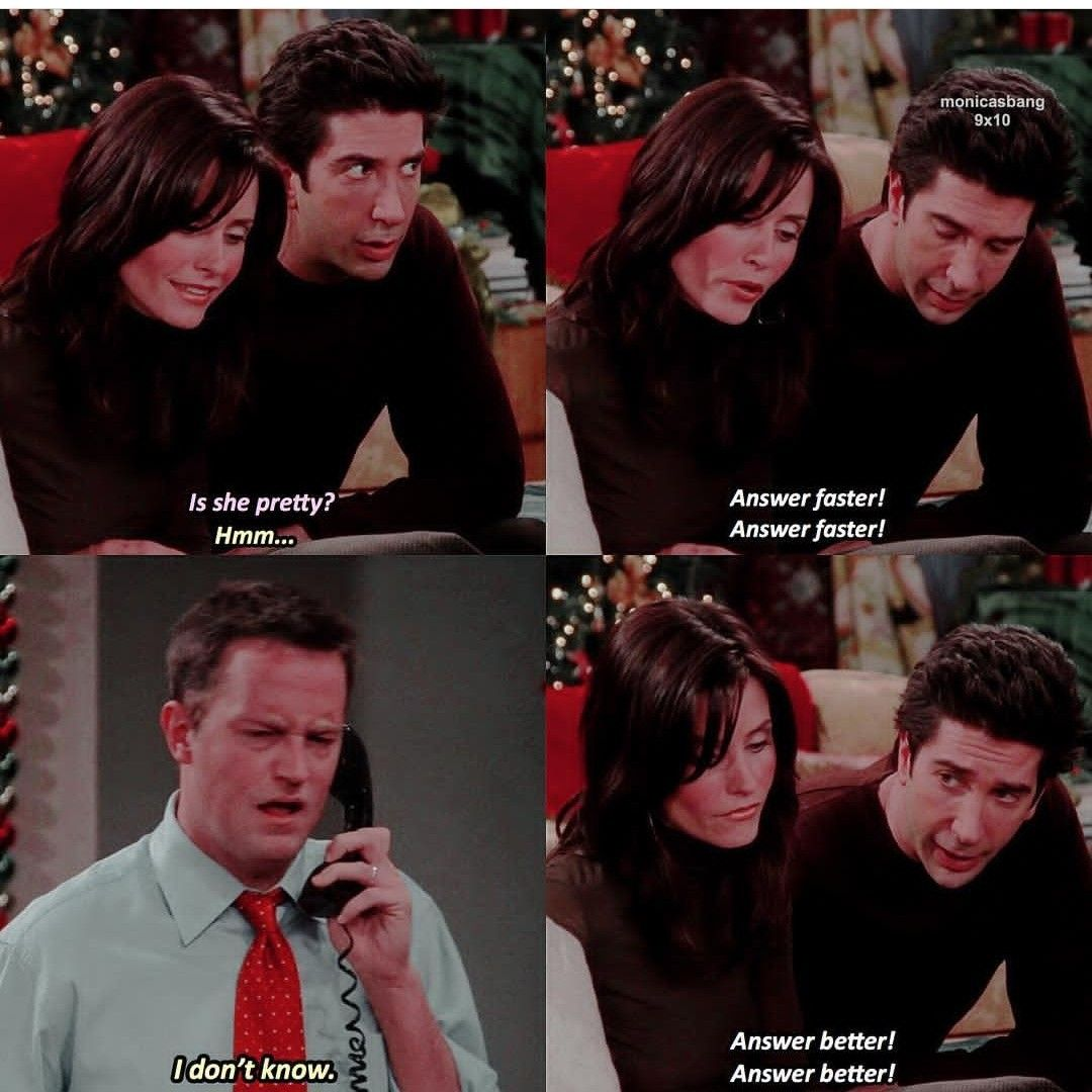 Answer faster and better   Friends episodes, Friends tv, Friends moments