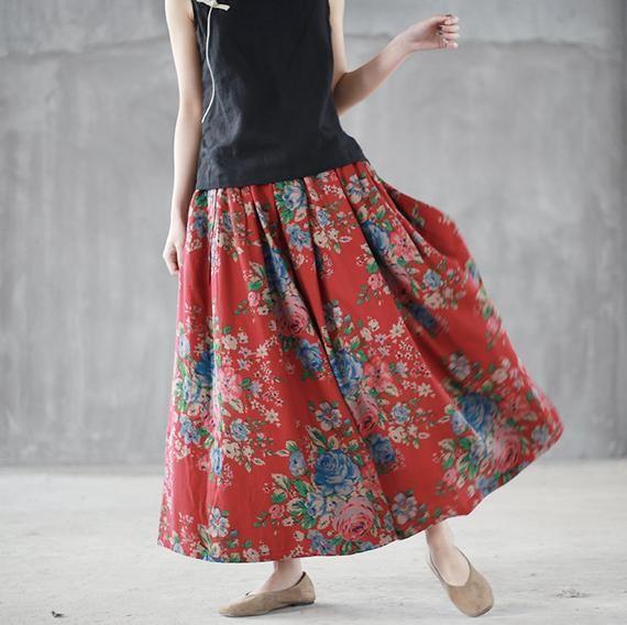 Women Summer Red skirt, vintage skirt, big swing # @EtsyMktgTool #summerskirt #cottonskirt #largesizeskirt #longskirt #women'sskirt