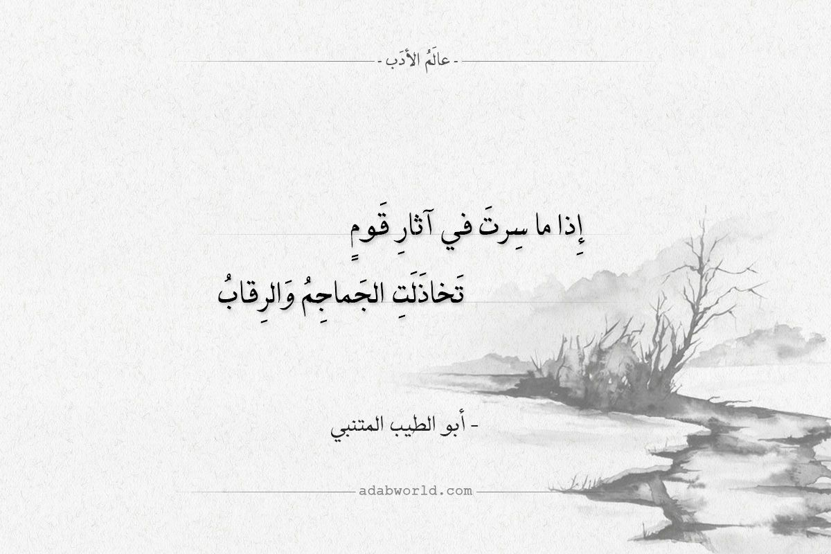 شعر أبو الطيب المتنبي إذا ما سرت في اثار قوم عالم الأدب Words Quotes Words Quotes