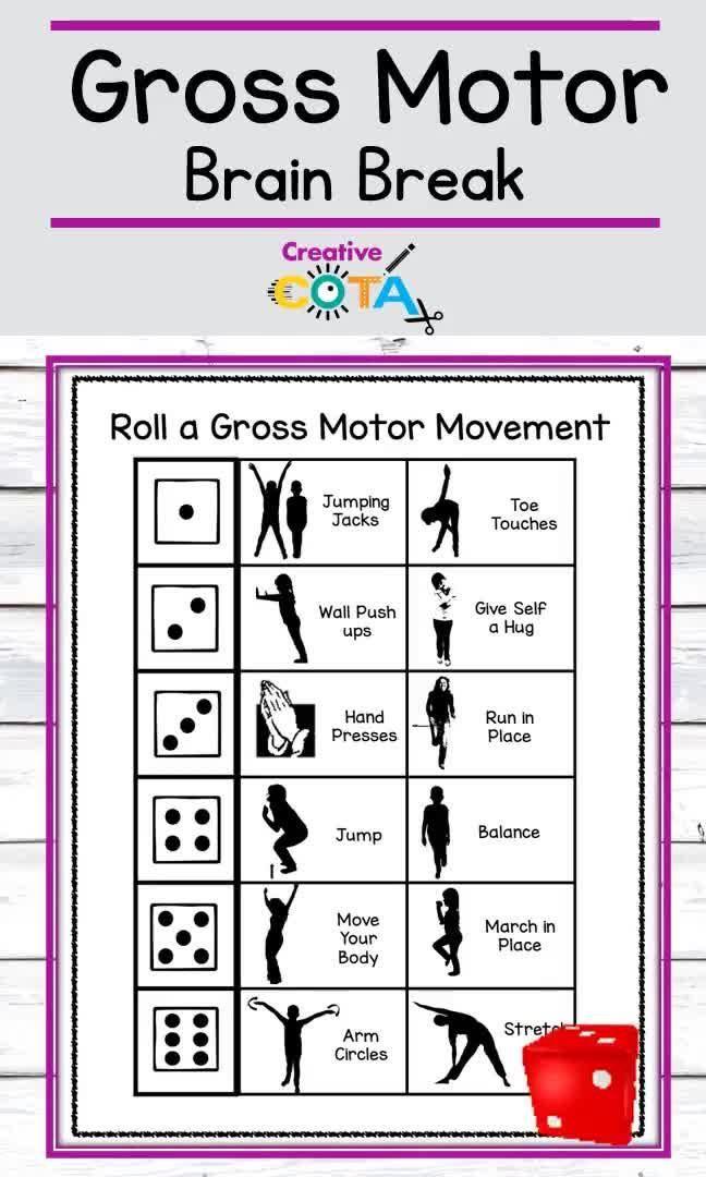 Brain Break Activity Roll A Gross Motor Movement Distance Learning Video Physical Activities For Kids Brain Breaks Brain Breaks Elementary
