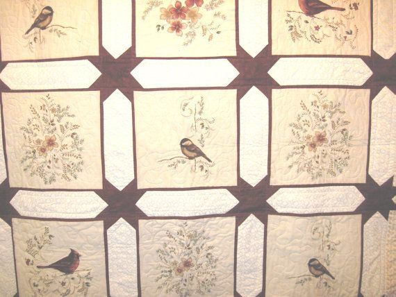 Lap / throw quilt Birds and Flowers by KellettKreations on Etsy, $149.00
