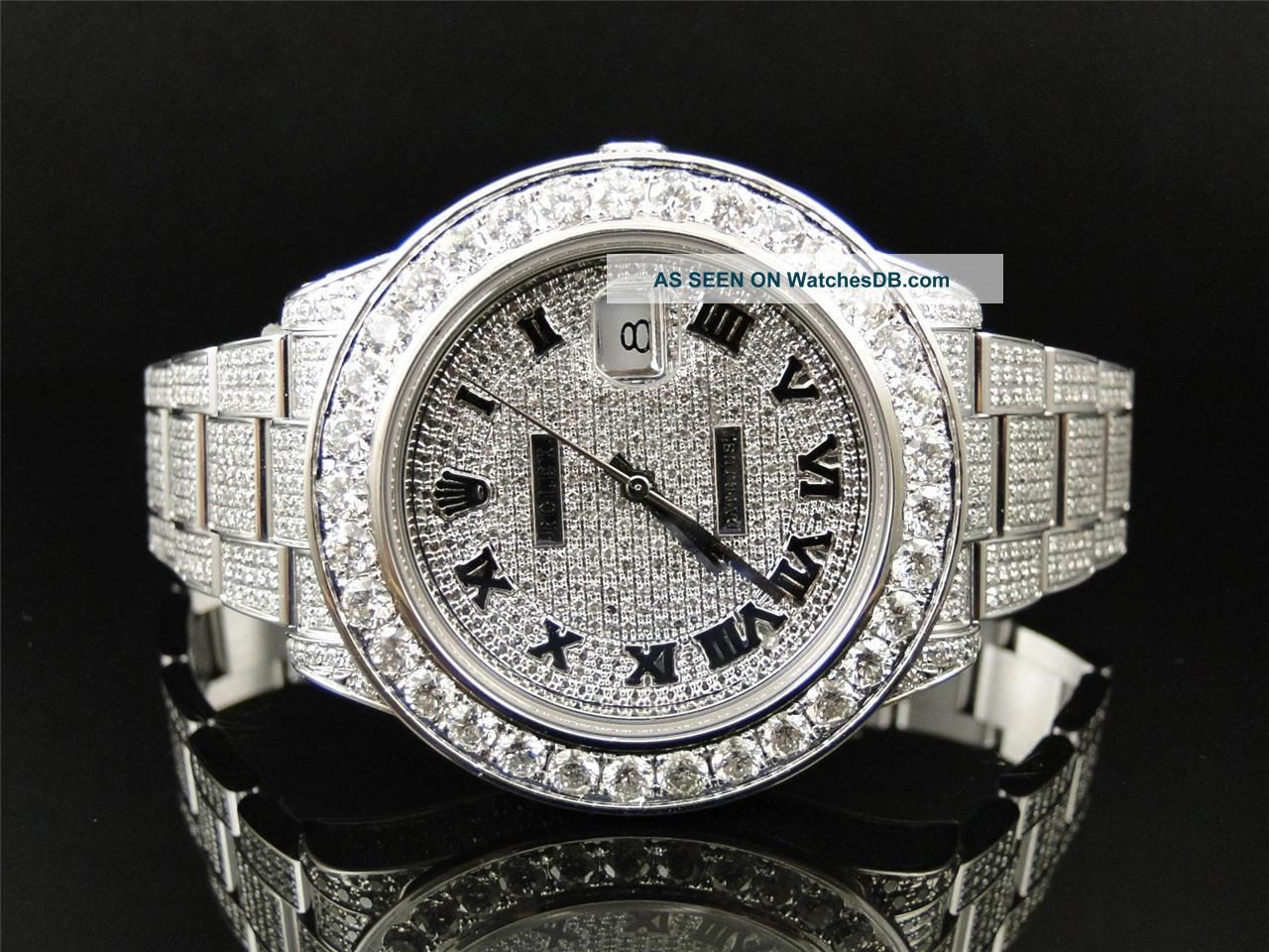 Iced Out Rolex 28 Ct Mens Fully Iced Out Diamond Rolex
