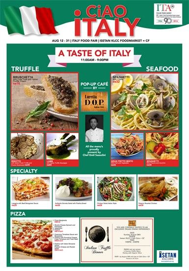 15 19 Aug 2016 Isetan Ciao Italy Pizza Special Italian Deli Bakery Menu