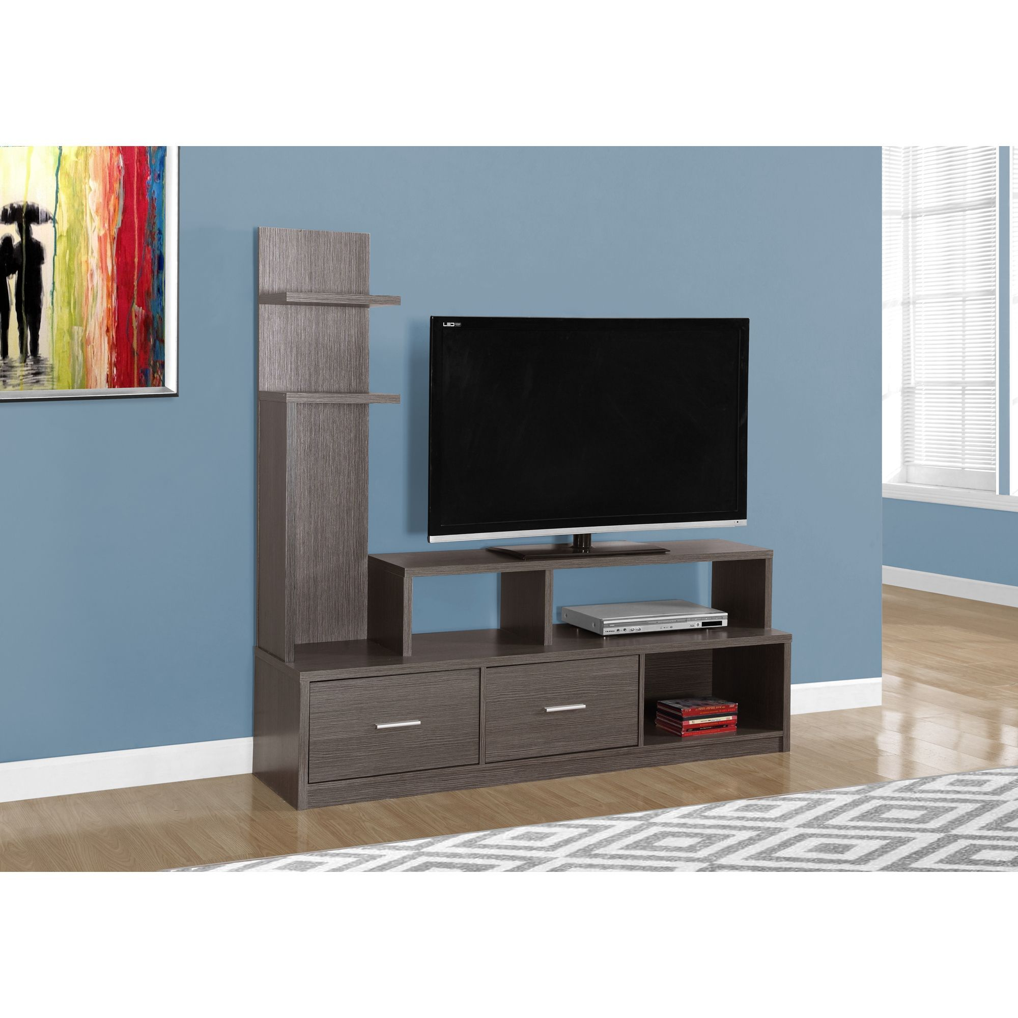 Monarch Grey Wood Grain Look Tv Stand And Display Tower Tv Stand  # Muebles Fiasini