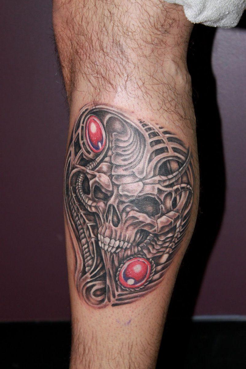 Biomechanical Skull Tattoo On Leg Tattoos Leg Tattoos Tattoos For Guys