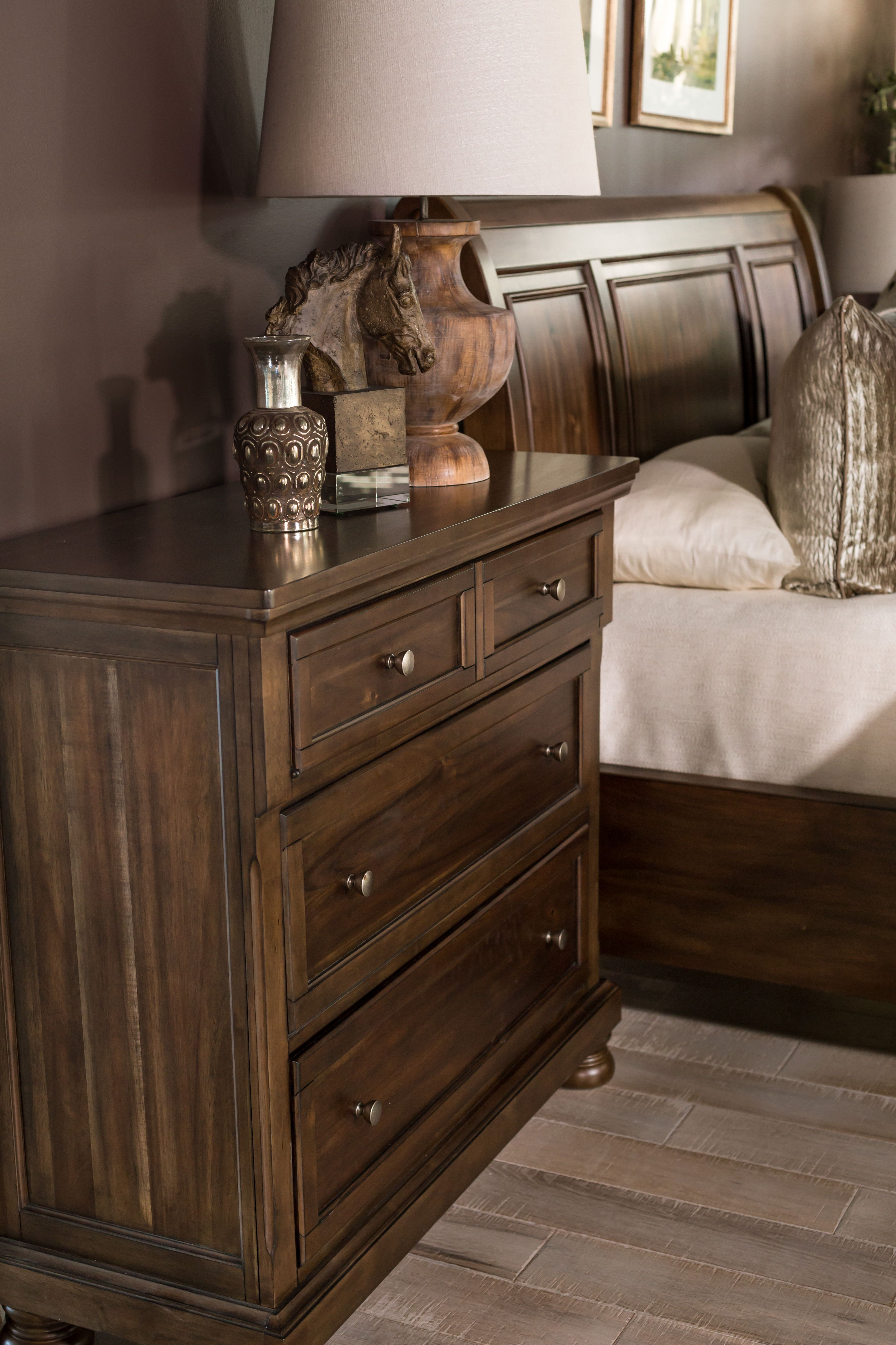 41 Three Drawer Traditional Bedroom Media Chest In Rich Brown