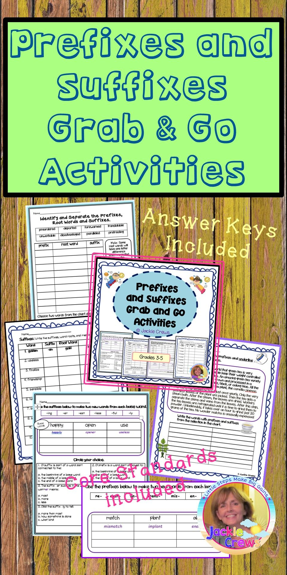 Prefixes and Suffixes Grab and Go Activities ...