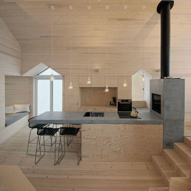 Kaminofen Beton Holz Hell Bodenbelag Stuhle Pendelleuchten