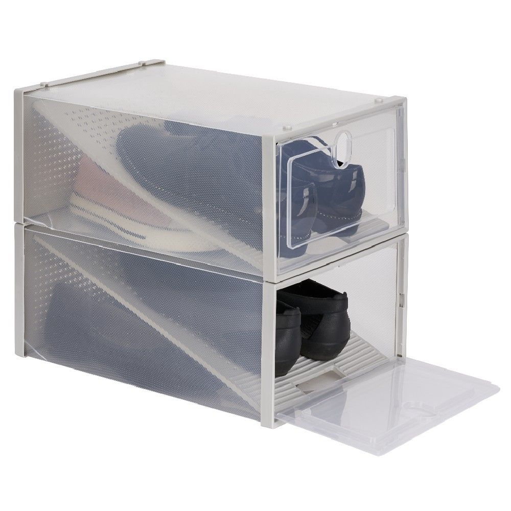 Range Chaussures Transparent X2 Meuble A Chaussures Bureau Et Entree Meuble Gifi En 2020 Rangement Meuble Gifi Rangement Chaussures