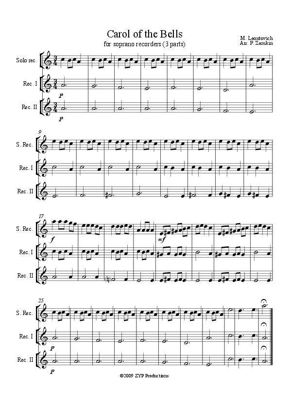 Carol of the Bells (3 part) Soprano Recorder piece | Recorder Music ...