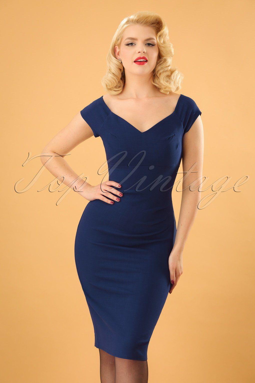 d23eb72e049386 Candace Pencil Dress Années 50 en Bleu Marine en 2019 | Vintage ...